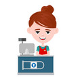young happy cute smiling cashier woman vector image