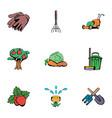 gardener icons set cartoon style vector image