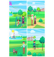 people relaxing in summer park posters collection