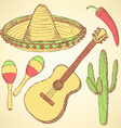 Sketch mexican set in vintage style vector image