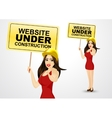 woman and website under construction message vector image