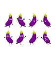 happy eggplant cartoon character vector image