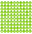 100 veterinary icons set green vector image