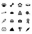 black pet icon set vector image