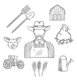 Sketch of farmer profession for agriculture design vector image