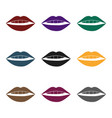 lips icon in black style isolated on white vector image