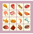 Meat flat icons set vector image