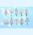 set of winter doodle sketch trees on blue vector image