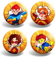 Round badges with superhero vector image vector image