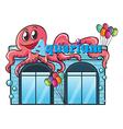 Aquarium and octopus vector image vector image