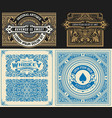 set of 4 vintage card with western style layered vector image vector image
