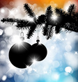 silhouette of a Christmas tree with bulbs vector image vector image