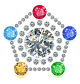 Pentagon composition colored gems set vector image