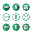 Flat time icons set Different kinds of flat style vector image