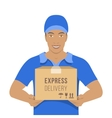 Delivery boy holds a parcel in cardboard box vector image