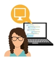 avatar woman and laptop computer vector image