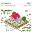 flat 3d isometric smart home and city map vector image