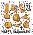 Halloween cookies Symbols of Halloween Set vector image
