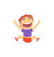 happy schoolboy jumping kids physical activity vector image