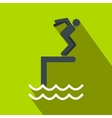 Jumping in a pool flat icon vector image