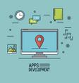 light blue background poster of apps development vector image