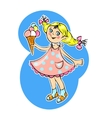Little blonde girl eating ice cream vector image
