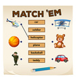 Matching game objects and words vector image