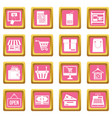 shopping icons pink vector image