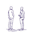 two man standing back people sketch holding smart vector image