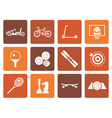 Flat sports equipment and objects icons vector image vector image