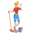 Cartoon blonde girl with mop cleans floor vector