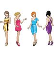 Beautiful girls in bright evening dresses 3 vector image vector image