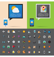 Smartphone alert and flat icons collection Set 3 vector image