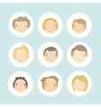 Set of 9 cartoon boys faces vector image
