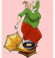 Cartoon grandmother dancing to the music patifon vector image