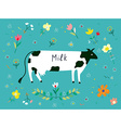 Cow and flowes for the milk label design vector image