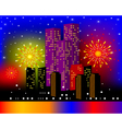 background townhouses with festive firework in the vector image