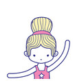 colorful girl practice ballet with bun hair design vector image