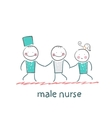 male nurse hold ill patient vector image