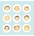 Set of 9 cartoon boys faces vector image