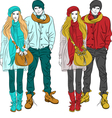 fashion stylish guy and girl in warm cloth vector image