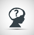 icons of childrens heads with a question mark vector image
