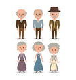 set retro old people with hairstyle vector image