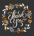thank you golden lettering card with wreath vector image