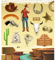 Cowboy cartoon character and objects Western vector image vector image