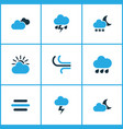 weather colored icons set collection of blizzard vector image