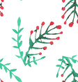 Seamless pattern with watercolor rowan vector image