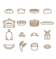 Bread linear icon set Baking Bakery products vector image