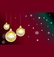 christmas card with golden christmas balls vector image