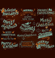 merry christmas and winter holiday lettering vector image